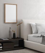 Mockup Frame Close Up In Modern Bedroom Interior Background, 3d Render