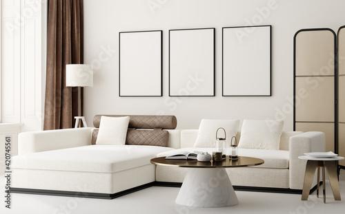 Obraz Poster mockup in modern interior background, 3d render - fototapety do salonu