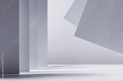 Canvas Print Abstract contemporary minimalistic geometric background of white grey perspective lines, light, shadow and asymmetry flying place as city, scene, copy space
