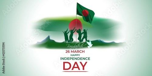 Fotografie, Tablou Vector illustration for Bangladesh happy independence day, national day, soldiers, flag hoisting, pigeon, mountain on abstract background with patriotic color theme