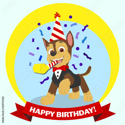 Paw Patrol Chase birthday card. Happy birthday from paw patrol chase! Happy puppy with birthday cap, horn and red bow-tie. Cartoon character greeting card. - fototapety na wymiar