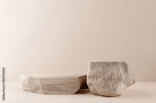 Fototapeta Wooden product display podium on brown background. 3D rendering obraz
