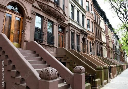 Stampa su Tela Harlem street view, New York City, USA