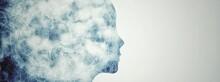 女性の横顔の抽象的な煙