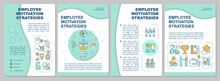 Employee Motivation Strategy Brochure Template. Mentoring And Coaching. Flyer, Booklet, Leaflet Print, Cover Design With Linear Icons. Vector Layouts For Magazines, Annual Reports, Advertising Posters