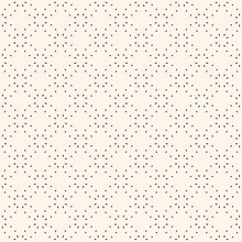 Minimalist Vector Seamless Pattern. Simple Delicate Geometric Texture. Abstract Black And White Minimal Background With Small Shapes, Dots, Floral Silhouettes. Subtle Minimalistic Repeat Geo Design
