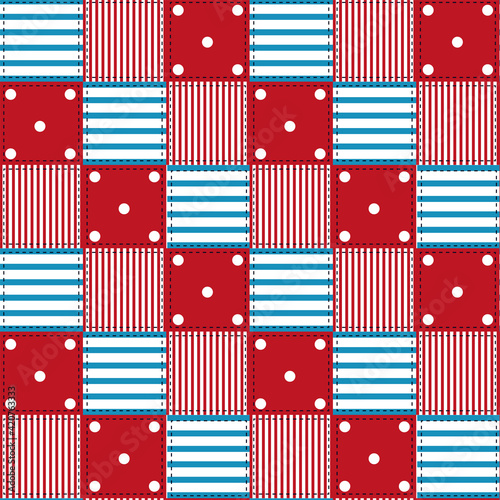 Fototapeta Seamless pattern with stripes and polka dots