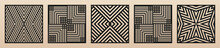 Laser Cut Patterns. Vector Collection Of Square Cutting Templates With Abstract Geometric Ornament, Lines, Stripes, Chevron. Decorative Stencil For Laser Cut Of Wood, Metal, Plastic. Aspect Ratio 1:1