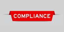 Red Color Inserted Label With Word Compliance On Gray Background