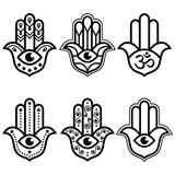 Fototapeta Kuchnia - Hamsa hand with evil eye simple minimalist geometric design set - symbol of protection, spirituality