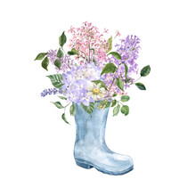 Watercolor Floral Bouquet In A Blue Garden Boot. Beautiful Lilac Flowers, Hydrangea, Greenery. Hand Painted Summer Or Spring Themed Illustration For Cards, Greetings, Invitations.
