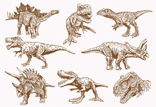 Vector Vintage Big Set Of Dinosaurs ,sepia Background,illustration,elements