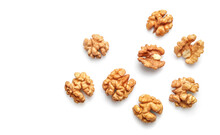 Golden Nutritious Walnut Kernels Isolated On White