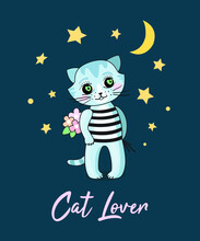 A Postcard With A Cat And Flowers. A Cat In Love. Cat And Moon