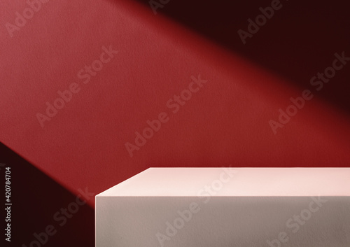 Canvas Print 3D illustration of beige podium and red background lit by diagonal light stripe