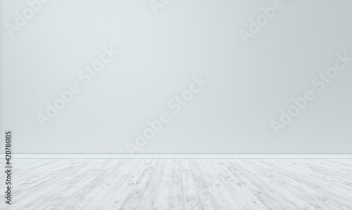 Obraz White wall and white painted wooden floor in empty room for displaying your product. - fototapety do salonu