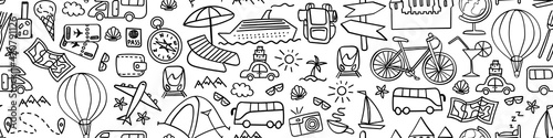 Fototapeta Travel hand drawn icons in seamless horizontal border