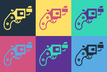 Pop Art Small Gun Revolver Icon Isolated On Color Background. Pocket Pistol For Self-defense. Ladies Revolver. Spy Weapon. Vector