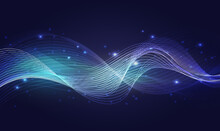 Luminous Neon Blue Waves, Abstract Light Shine Effect Vector Illustration. Magic Shining Wind With Glowing Sparkles Particles, Wavy Speed Lines Energy Glow Isolated On Transparent Dark Background