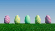 Easter Eggs On A Grass Lawn, With A Clear Blue Sky. Beautiful Yellow, Pink And Green Eggs With Striped Patterns. 3D Render