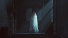 Floating Ghost Evil Spirit Looking Over Her Shoulder In A Derelict Asylum Hospital 3d Illustration