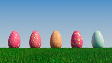 Easter Eggs On A Grass Lawn, With A Clear Blue Sky. Beautiful Orange, And Red Eggs With Floral, And Spotted Patterns. 3D Render