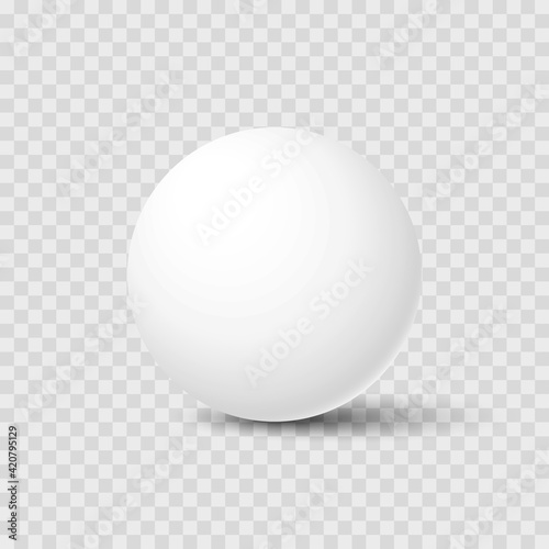 Fototapeta Realistic white sphere with shadow isolated on transparent background