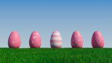 Easter Eggs On A Grass Lawn, With A Clear Blue Sky. Beautiful Pink Eggs With Floral, Striped And Triangle Patterns. 3D Render