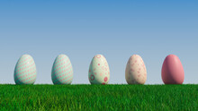 Easter Eggs On A Grass Lawn, With A Clear Blue Sky. Beautiful Pale Green, Pale Blue And Pink Eggs With Spotted And Floral Patterns. 3D Render