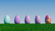 Easter Eggs On A Grass Lawn, With A Clear Blue Sky. Beautiful Purple, Red And Aqua Eggs With Spotted And Polka Dot Patterns. 3D Render