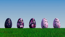 Easter Eggs On A Grass Lawn, With A Clear Blue Sky. Beautiful Violet, Purple And Pink Eggs With Circle And Ring Patterns. 3D Render