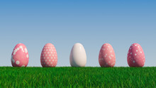 Easter Eggs On A Grass Lawn, With A Clear Blue Sky. Beautiful Pink Eggs With Circle, Ring, Floral And Polka Dot Patterns. 3D Render