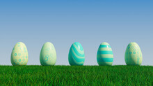 Easter Eggs On A Grass Lawn, With A Clear Blue Sky. Beautiful Green, And Aqua Eggs With Striped, Diamond And Floral Patterns. 3D Render