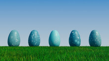 Easter Eggs On A Grass Lawn, With A Clear Blue Sky. Beautiful Teal, And White Eggs With Triangle And Floral Patterns. 3D Render