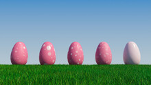 Easter Eggs On A Grass Lawn, With A Clear Blue Sky. Beautiful Pink Eggs With Floral, Circle And Ring Patterns. 3D Render
