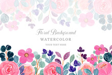 Pink Floral Background With Watercolor