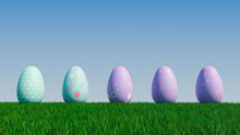 Easter Eggs On A Grass Lawn, With A Clear Blue Sky. Beautiful Purple, And Aqua Eggs With Spotted, Floral And Polka Dot Patterns. 3D Render