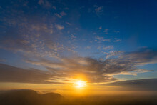 Morning Sunrise View From Pha Mo E Dang, Located In The Area Of Khao Phra Viharn National Park, Sao Thong Chai, Kantharalak District, Si Sa Ket , Thailand