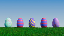 Easter Eggs On A Grass Lawn, With A Clear Blue Sky. Beautiful Purple, Red And Yellow Eggs With Striped Patterns. 3D Render