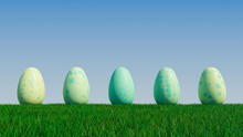 Easter Eggs On A Grass Lawn, With A Clear Blue Sky. Beautiful Green, And Aqua Eggs With Diamond And Floral Patterns. 3D Render