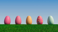Easter Eggs On A Grass Lawn, With A Clear Blue Sky. Beautiful Orange, And Red Eggs With Polka Dot, And Spotted Patterns. 3D Render