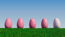 Easter Eggs On A Grass Lawn, With A Clear Blue Sky. Beautiful Pink Eggs With Floral, Spotted And Polka Dot Patterns. 3D Render