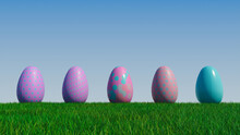 Easter Eggs On A Grass Lawn, With A Clear Blue Sky. Beautiful Pink And Purple Eggs With Polka Dot, Spotted And Floral Patterns. 3D Render