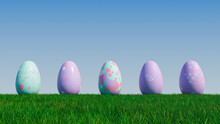 Easter Eggs On A Grass Lawn, With A Clear Blue Sky. Beautiful Purple, And Aqua Eggs With Spotted, Floral And Triangle Patterns. 3D Render