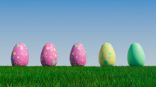 Easter Eggs On A Grass Lawn, With A Clear Blue Sky. Beautiful Yellow, Pink And Green Eggs With Circle And Ring Patterns. 3D Render