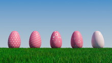 Easter Eggs On A Grass Lawn, With A Clear Blue Sky. Beautiful Pink Eggs With Triangle, Spotted And Polka Dot Patterns. 3D Render