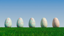 Easter Eggs On A Grass Lawn, With A Clear Blue Sky. Beautiful Pale Green, Pale Blue And Pink Eggs With Spotted And Diamond Patterns. 3D Render