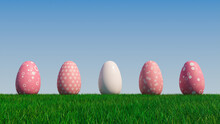 Easter Eggs On A Grass Lawn, With A Clear Blue Sky. Beautiful Pink Eggs With Circle, Ring And Floral Patterns. 3D Render