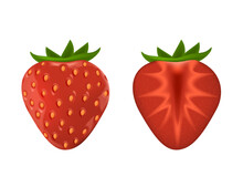 Appetizing Fresh Strawberry. Red Ripe 3d Realistic Strawberry Whole And Cut In Half.