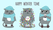 Grumpy Cat Happy Winter Time. Celebration, Cacoa, Coffee, Cold Days